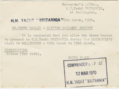 Invitation Card, H.M. Yacht Britannia