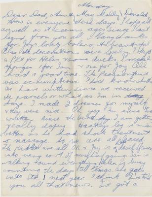 Letter, Helen Hartley to Hamlin family