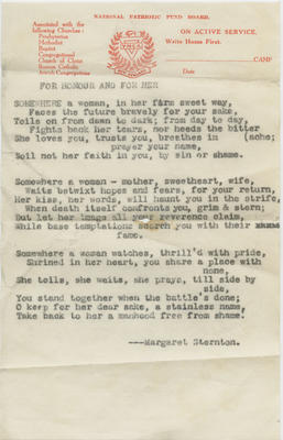 Poem, For Honour and For Her