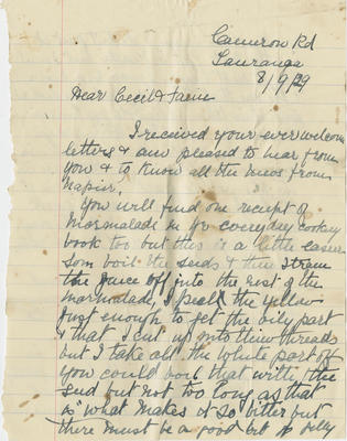 Letter to Cecil and family