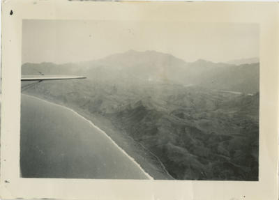 Aerial view of mountains and sea from RNZAF aircraft