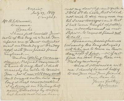 Letter, William Colenso to H G Warren