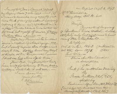 Letter, William Colenso to W Dinwiddie