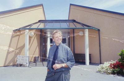 James Jack outside the Hawke's Bay Polytechnic's new Nursing and Health Studies block