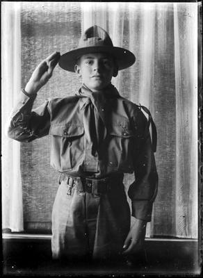 Boy in scout uniform