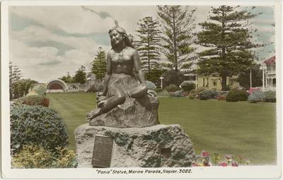 Postcard, Pania Statue, Marine Parade, Napier