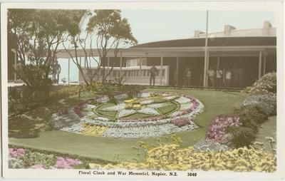 Postcard, Floral Clock and War Memorial, Napier