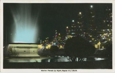 Postcard, Marine Parade by Night, Napier