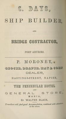 Almanac, Hawke's Bay 1874