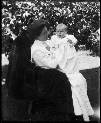 Woman holding infant