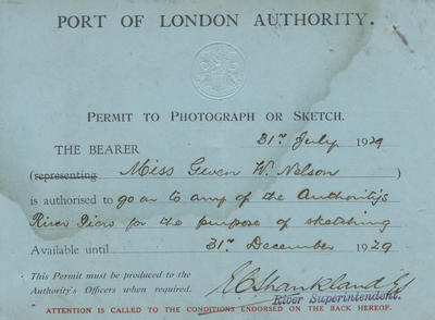 Permit, Port of London Authority to Gwen Nelson