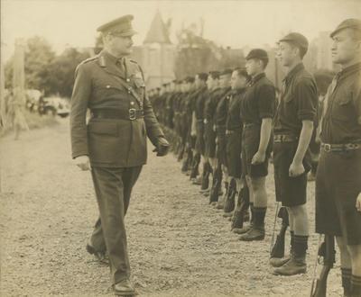 Sir Bernard Freyberg inspecting Guard of Honour during Houngarea Marae memorial gates dedication ceremony