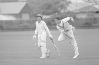 Cornwall's Paul Unwin  and Napier Old Boys Marist bowler Damien Cullen