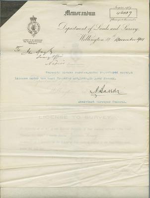 Memorandum and License, James Hay