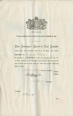 Surveyor's License, James Hay