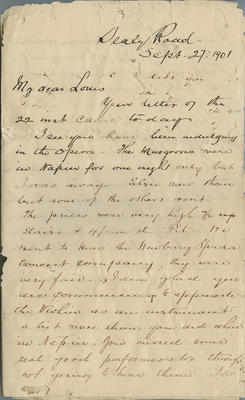 Letter, James Hay to Louis Hay