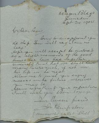 Letter, Bill Kempston to Louis Hay