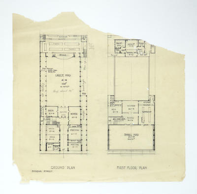 Architectural drawing, unidentified building, Dickens Street