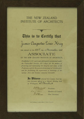 Certificate, James Augustus Louis Hay, Associate of the New Zealand Institute of Architects