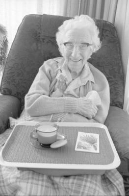Mrs Mary Farnell enjoys a cup of tea at Hillcrest Rest Home, Havelock North