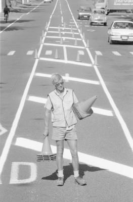 Road marker, Buster Askew
