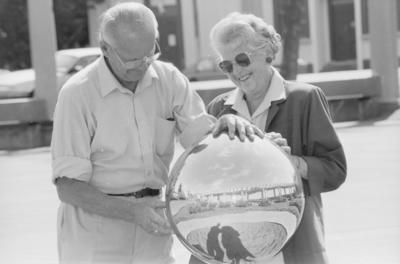 Russell Spiller and his wife Corrine, who donated the gazing ball