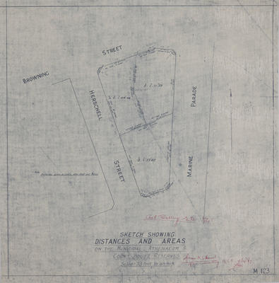 Plan, Sketch showing distances and areas on the Municipal, Athenaeum and Court House Reserves