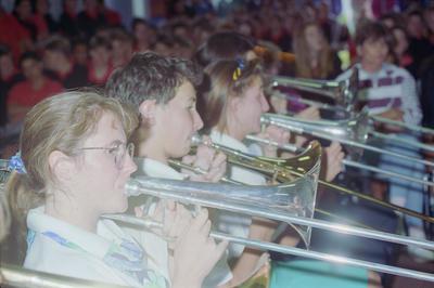From left, trombonists Jennifer Haywood, Kim Frances and Katy Black