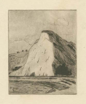 Untitled - eroded cliff and sea; Bestall (MBE) Leonard Delabere