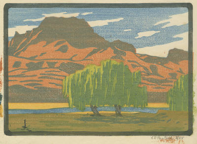 Untitled - landscape and willow trees; Bestall (MBE) Leonard Delabere
