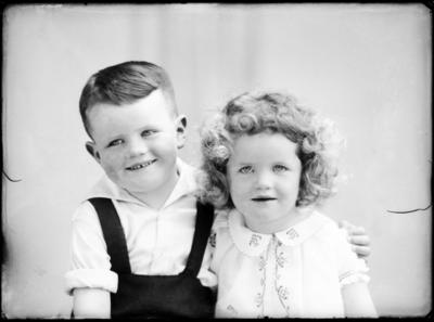 Portrait of unidentified boy and girl