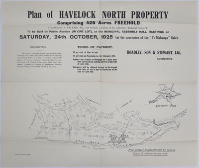 Map, Havelock North Property; Williams & Kettle Ltd; Herald Lithography