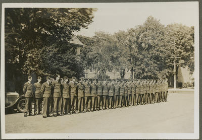 RNZAF men standing at attention