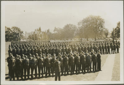 RNZAF men on parade ground, Christchurch