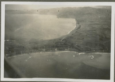 Aerial view of land and sea from RNZAF aircraft