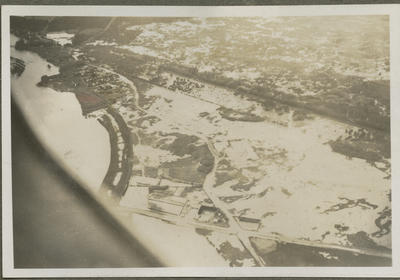 Aerial view of snow covered land from RNZAF aircraft