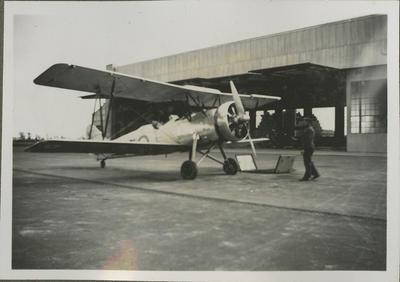 Aircraft outside hangar at Wigram aerodrome