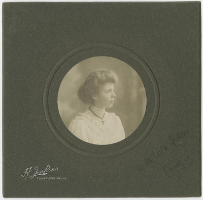 Portrait of a young woman, inscribed With Love from Margie