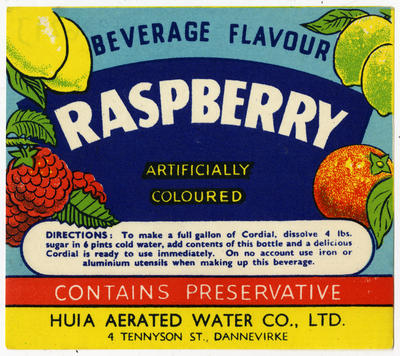 Label, Raspberry Beverage Flavour