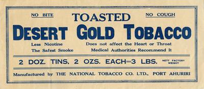 Banner advertisement, Desert Gold Tobacco