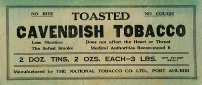 Banner advertisement, Cavendish  Tobacco