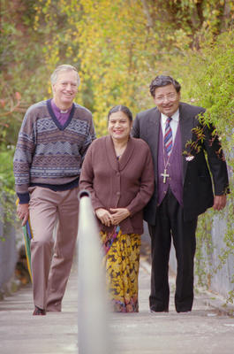 Bishop of Waiapu, the Right Reverend Murray Mills, Bishop of Hyderabad, the Right Reverend Bashir Jiwan, and his wife Charlotte