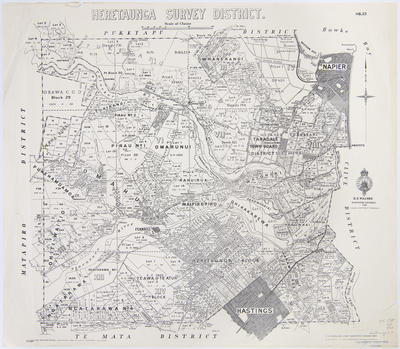 Map, Heretaunga Survey District; Department of Lands & Survey; Dick, R G; Paul, E V; McMillan, T S; Walshe, Harry Edward