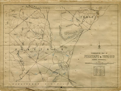 Triangulation map, Puketapu and Tongoio survey districts; Department of Lands & Survey; Humphries, Thomas; McCardell, H T; Smith, Stephenson Percy; Barron, A; Hallett, Walter