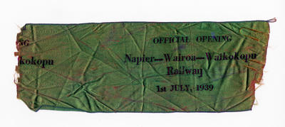 Commemorative ribbon, Official Opening of the Napier-Wairoa-Waikokopu Railway