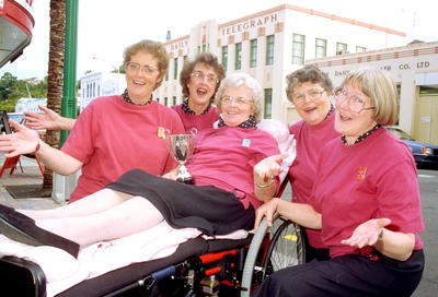 Left - right Julie Tairua, Shirley Lepper, Louise Hamilton seated, Shirley Williams and Dorothy Bisley