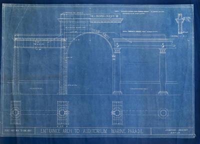 Architectural plan, entrance arch to auditorium, Marine Parade, Napier