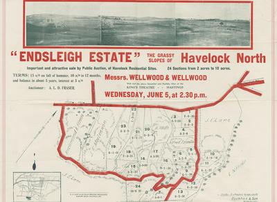 Map, Endsleigh Estate, Havelock North; Williams & Kettle Ltd; Rochfort & Son; Cliff Press
