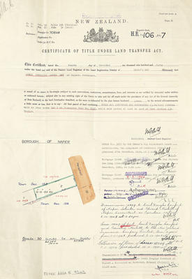 Certificate of title for Louis Hay office building on Herschell Street
