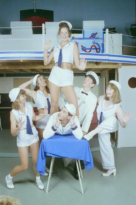 Anything Goes dancers clockwise from left: Marlene Welsh, Hayley Wiig, Scott Boyce, Rachel Wagg on the table, Callum Dodunski and Sarah Blewitt